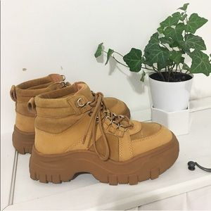 Used/ platform tan  suede shoes